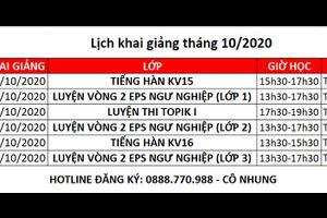 LỊCH KHAI GIẢNG THÁNG 10/2020