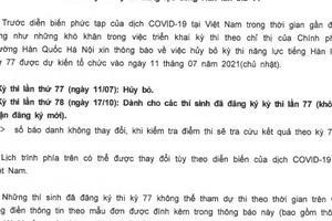THÔNG BÁO: Về việc hủy bỏ kỳ thi năng lực tiếng Hàn lần thứ 77
