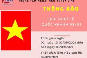 Korea Link thông báo nghỉ lễ Quốc khánh 02/09/2021