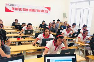 Không khí nghiêm túc trước kỳ thi thử máy tính EPS - TOPIK năm 2020 dành cho ngành Ngư nghiệp