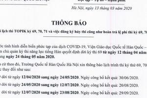 THÔNG BÁO: Về việc hoãn kỳ thi topik 69,70,71