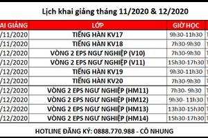 Lịch khai giảng các lớp học tiếng Hàn tháng 11, 12 tại Vinh